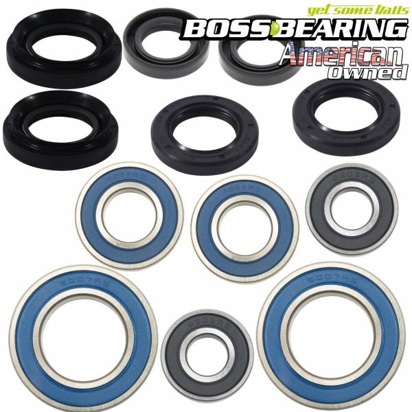 Boss Bearing - Boss Bearing Y-ATV-FR-1000/Y-ATV-RR-1014 Combo-Pack! Front Wheel and Rear Axle Bearings and Seals Kits for Yamaha