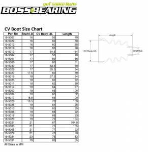 Boss Bearing - Boss Bearing CV Boot Repair Kit Front Outer for Honda - Image 3
